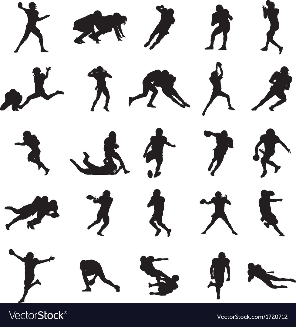 American football black silhouettes vector | Price: 1 Credit (USD $1)