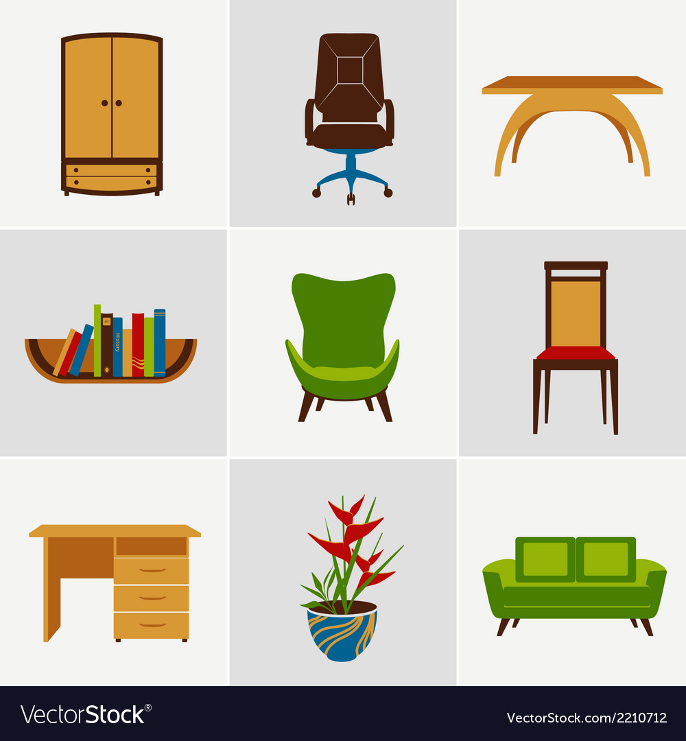 Furniture flat icons vector | Price: 1 Credit (USD $1)
