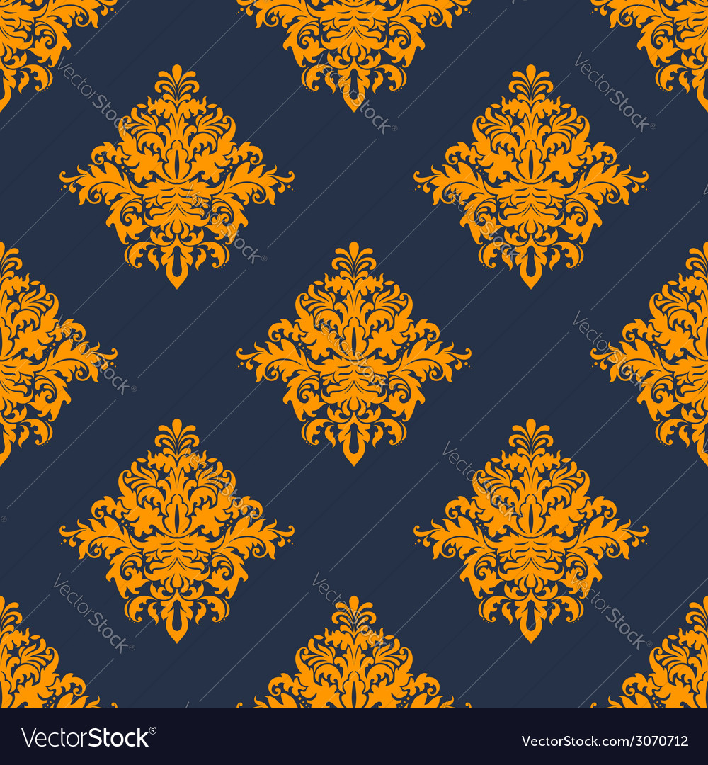 Gold and blue damask style seamless pattern vector | Price: 1 Credit (USD $1)