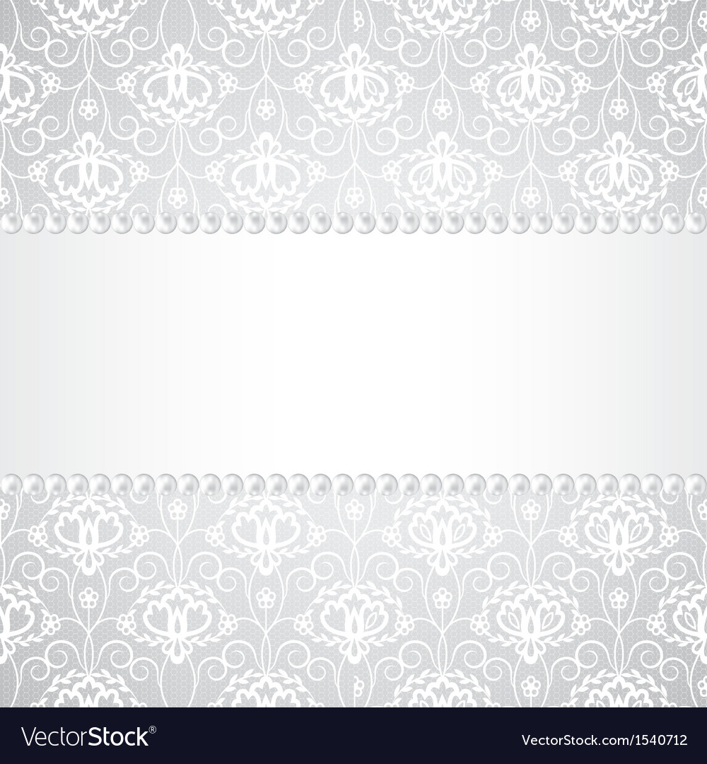 Lace background with pearls and ribbon vector | Price: 1 Credit (USD $1)