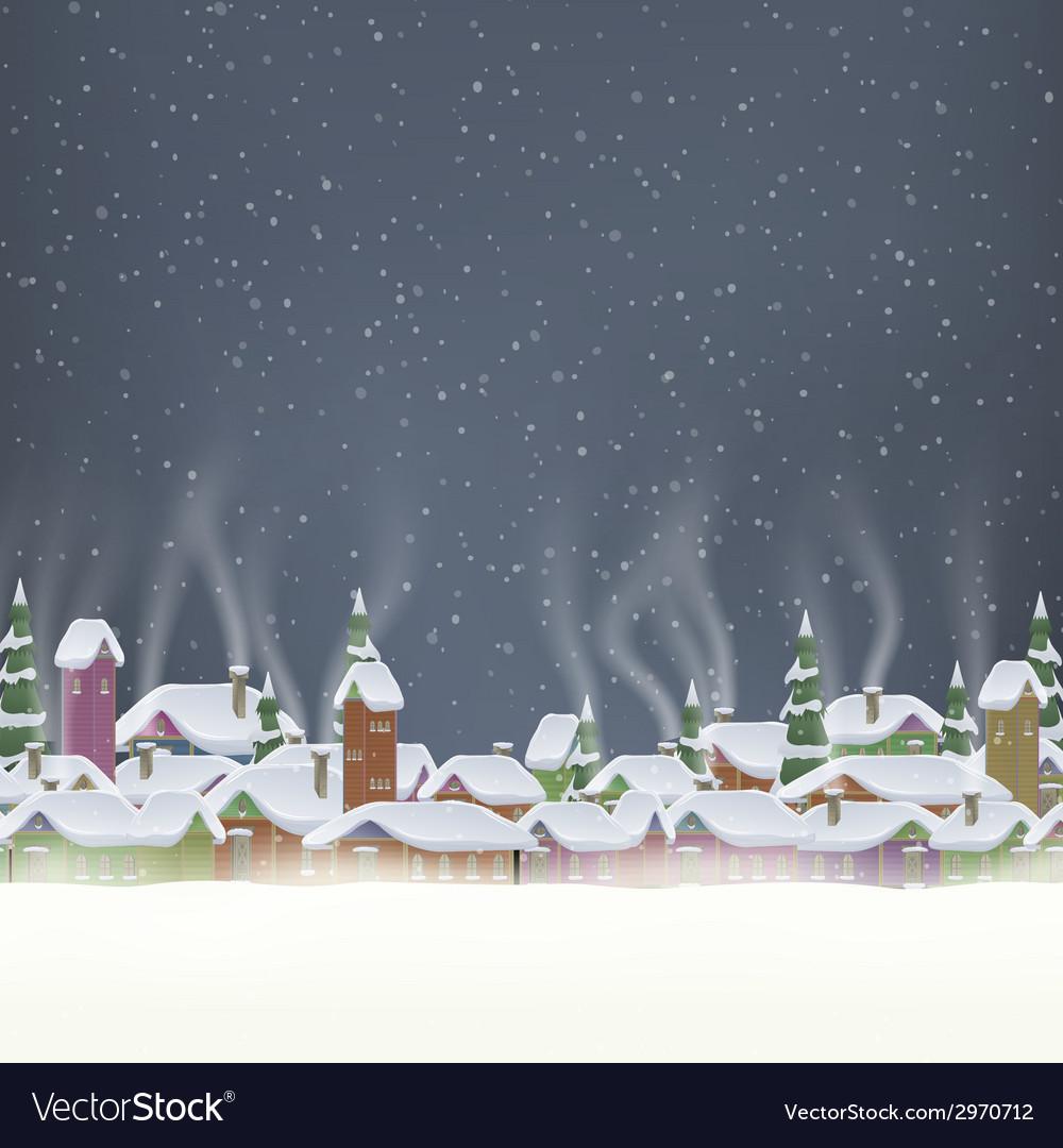 Merry christmas retro postcard village eps 10 vector | Price: 3 Credit (USD $3)