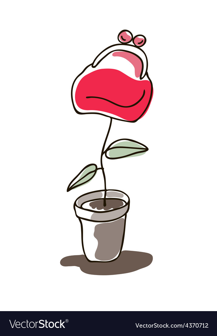 Money plant flower in pot vector | Price: 1 Credit (USD $1)