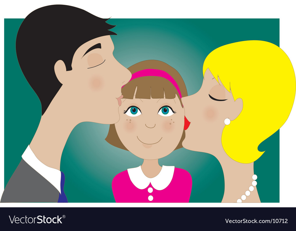 Parents and child kiss vector | Price: 1 Credit (USD $1)