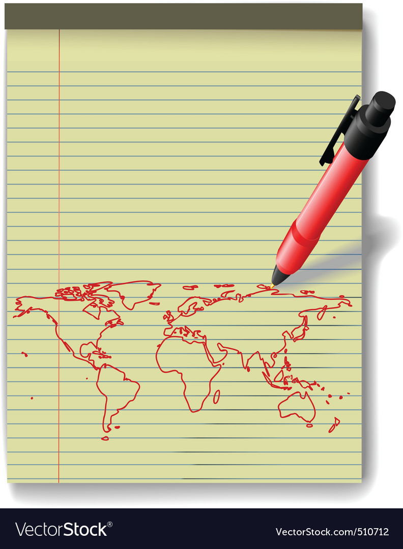 Pen drawing world map on legal pad paper red ink vector | Price: 1 Credit (USD $1)