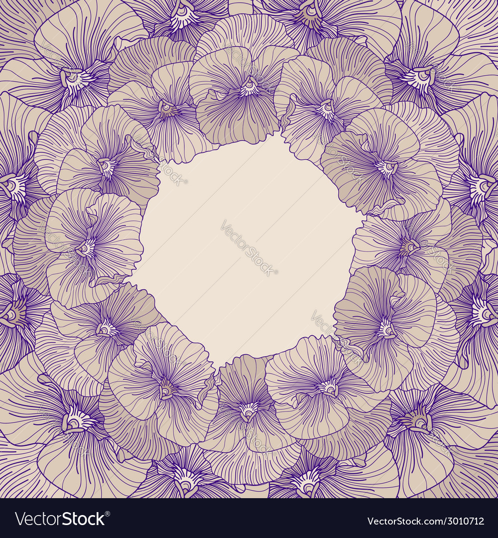 Round pansy frame vector