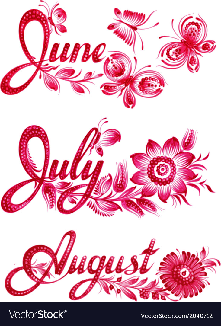 Set name of the month summer vector | Price: 1 Credit (USD $1)