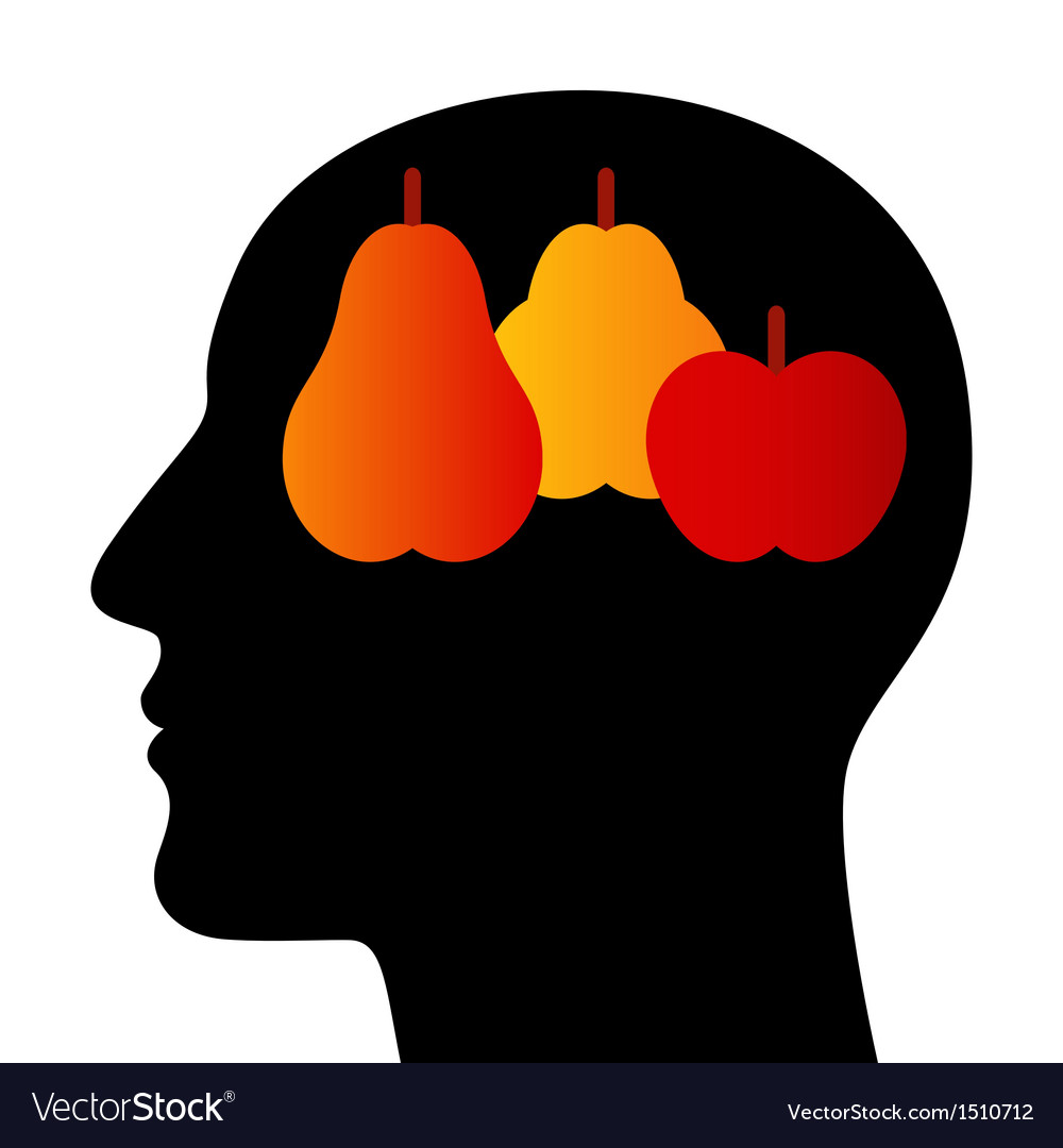 Silhouette of a head with fruits vector | Price: 1 Credit (USD $1)