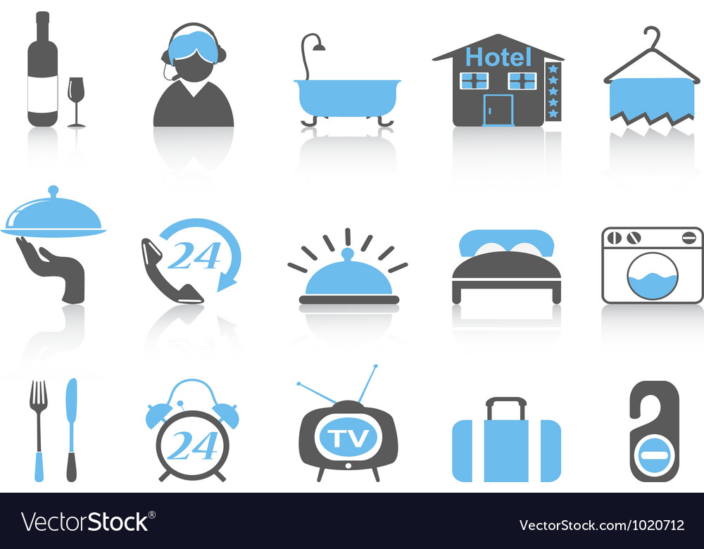 Simple color hotel icons vector | Price: 1 Credit (USD $1)