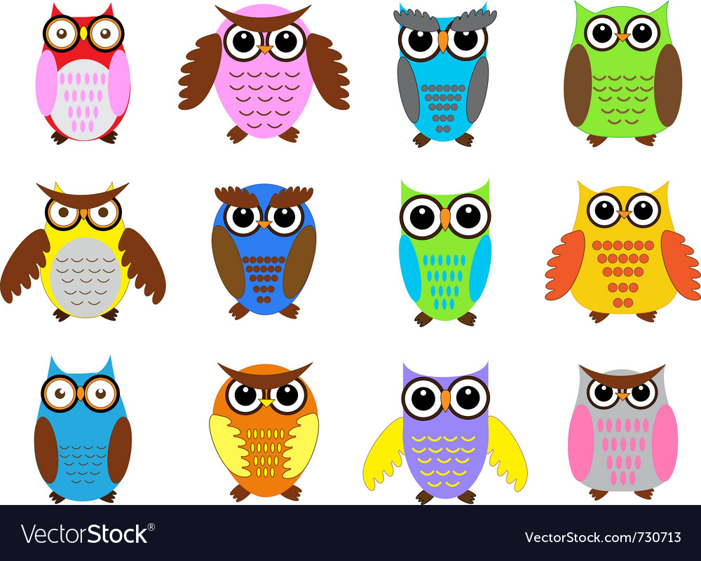 Color owls vector | Price: 1 Credit (USD $1)