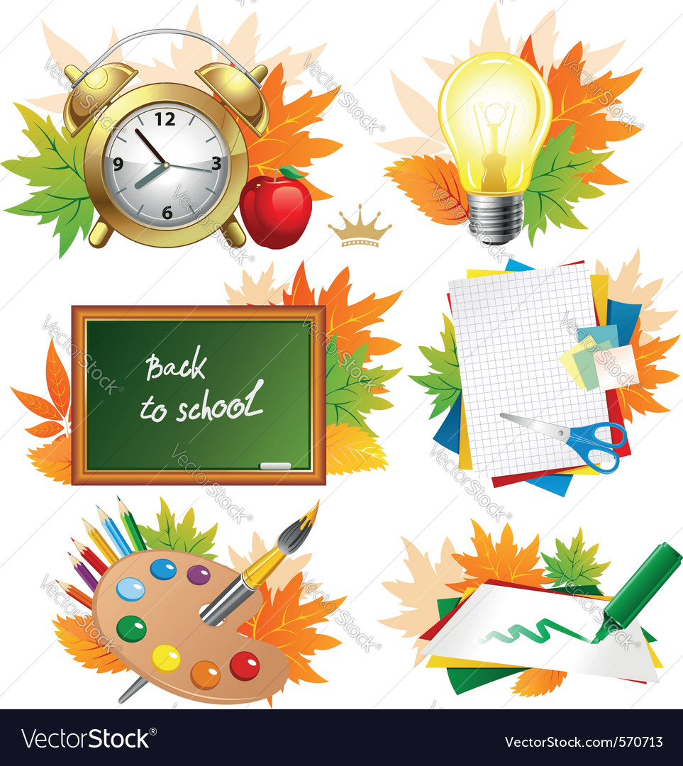Education and school icon set vector | Price: 3 Credit (USD $3)
