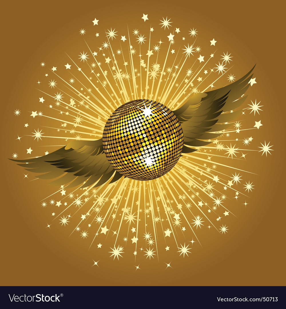 Gold disco ball and stars vector | Price: 1 Credit (USD $1)