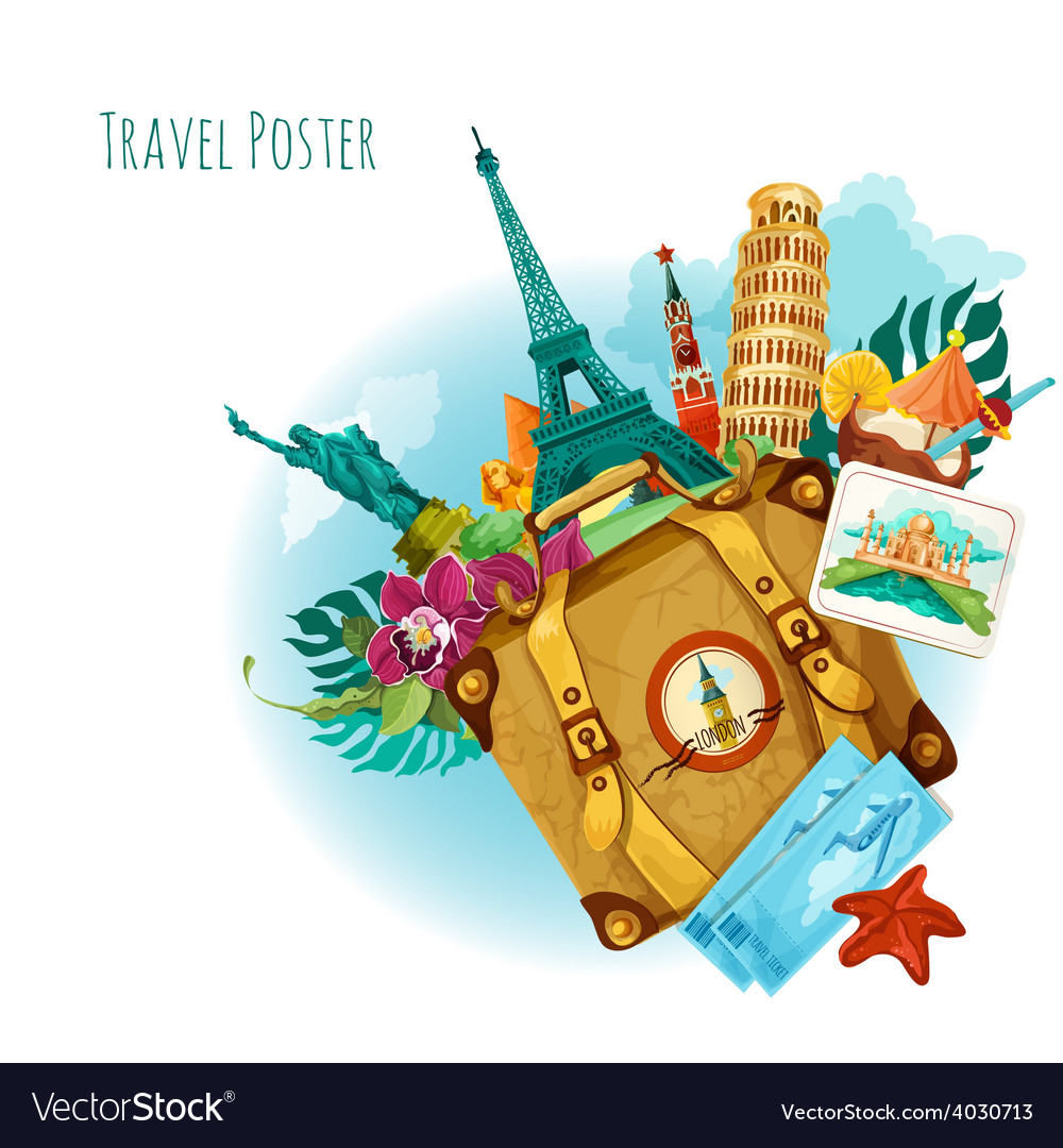 Landmarks travel background vector | Price: 1 Credit (USD $1)