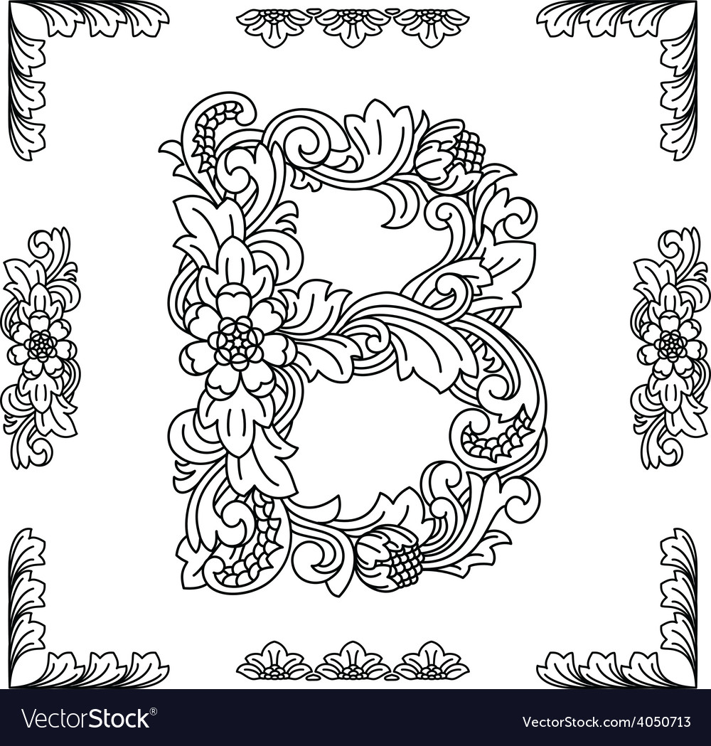 Letter b floral ornament eps10 vector | Price: 1 Credit (USD $1)
