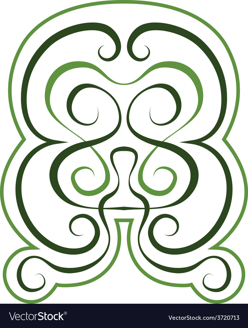 Pattern green tint ornament tattoo style vector | Price: 1 Credit (USD $1)