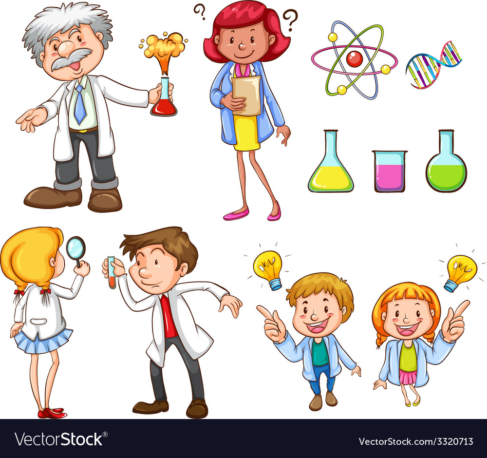 People doing different science activities vector | Price: 3 Credit (USD $3)
