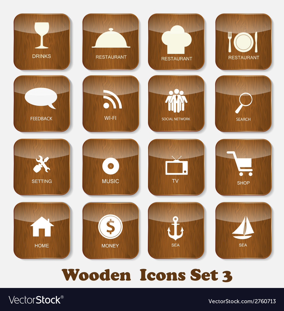Wooden application icons set vector | Price: 1 Credit (USD $1)