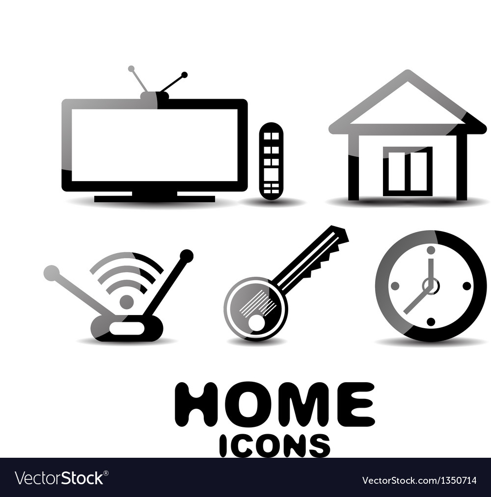 Black glossy home icons vector | Price: 1 Credit (USD $1)
