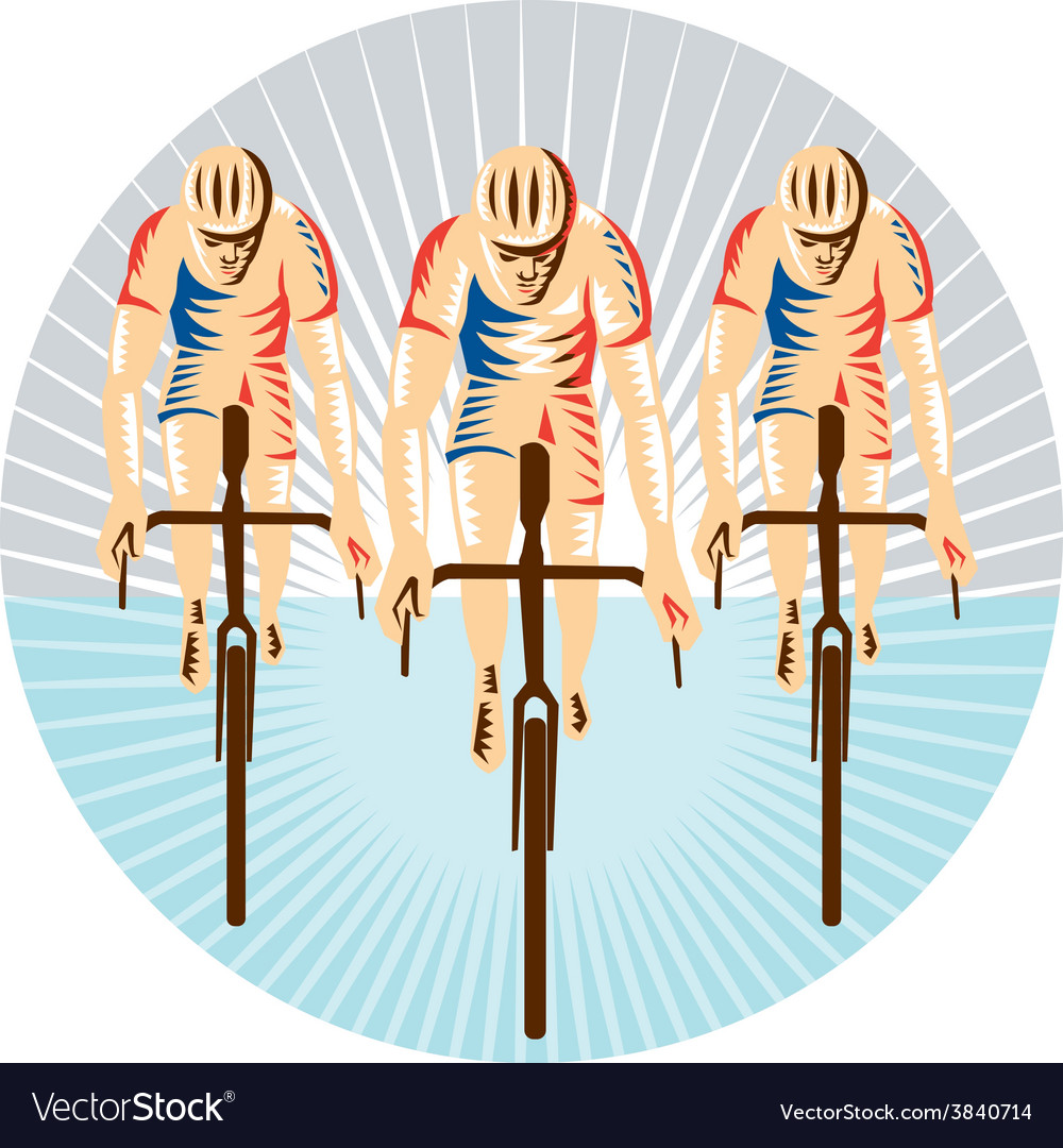 Cyclist riding bicycle cycling circle woodcut vector | Price: 1 Credit (USD $1)