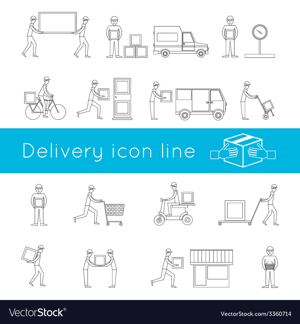Delivery icons outline set vector | Price: 1 Credit (USD $1)
