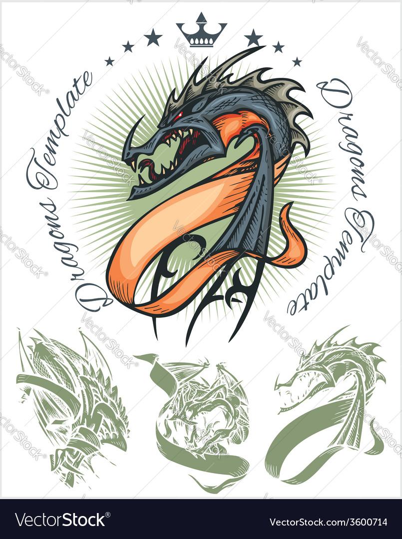 Dragons and ribbons - set stock vector | Price: 1 Credit (USD $1)