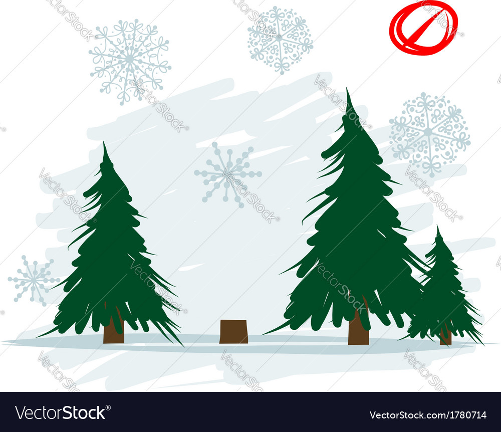 Felled tree in forest vector | Price: 1 Credit (USD $1)