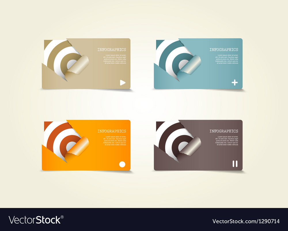 Four colored paper notes vector | Price: 1 Credit (USD $1)