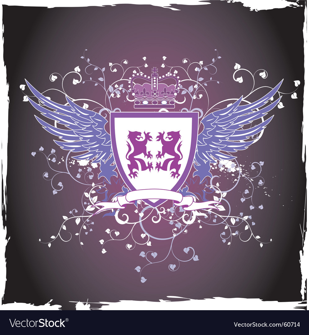 Grunge retro violet shield vector | Price: 1 Credit (USD $1)