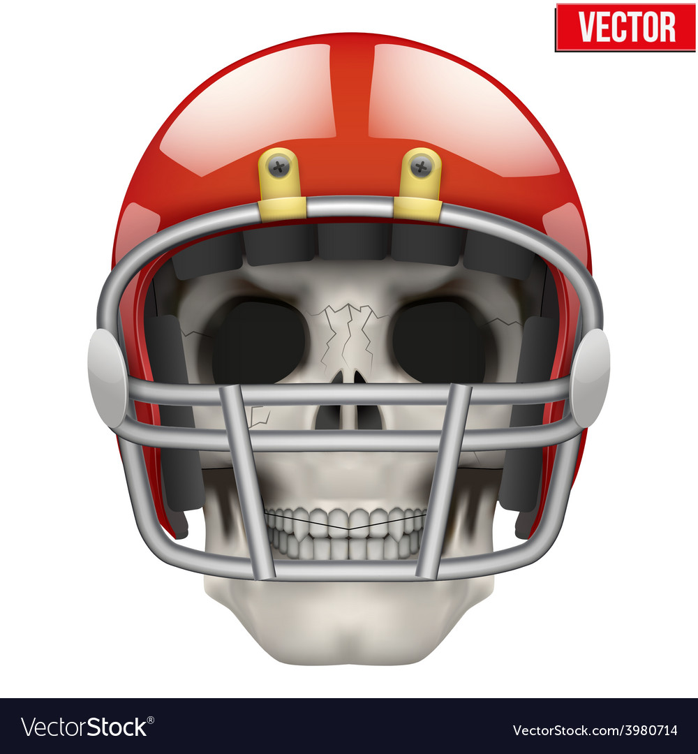 Human skull with american football player helmet vector