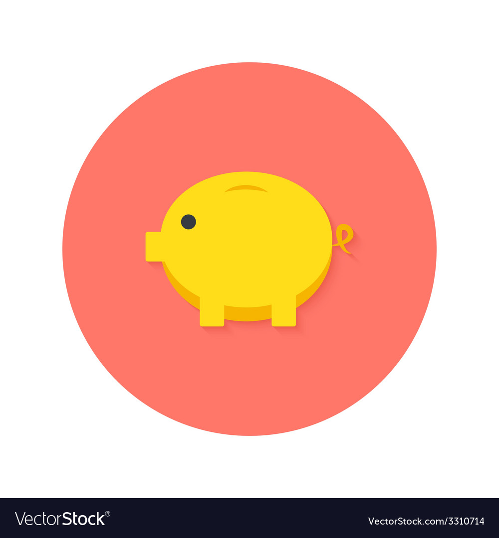 Money pig flat icon vector | Price: 1 Credit (USD $1)