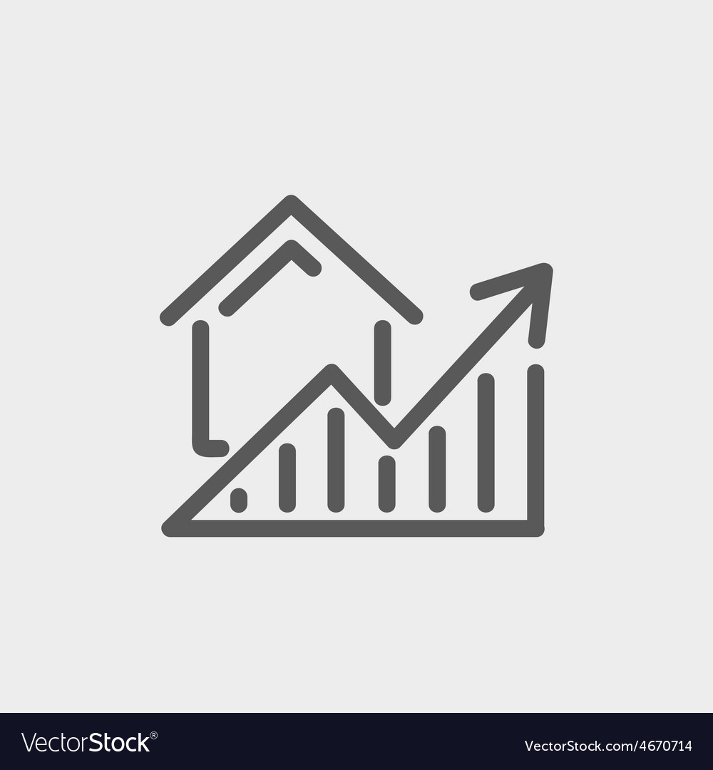Residential graph increases thin line icon vector | Price: 1 Credit (USD $1)