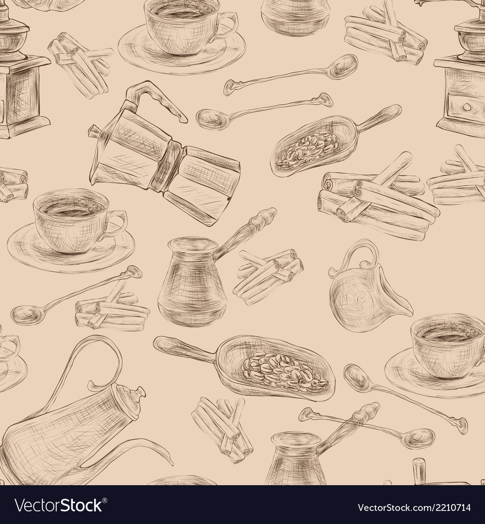 Retro coffee set seamless pattern vector | Price: 1 Credit (USD $1)