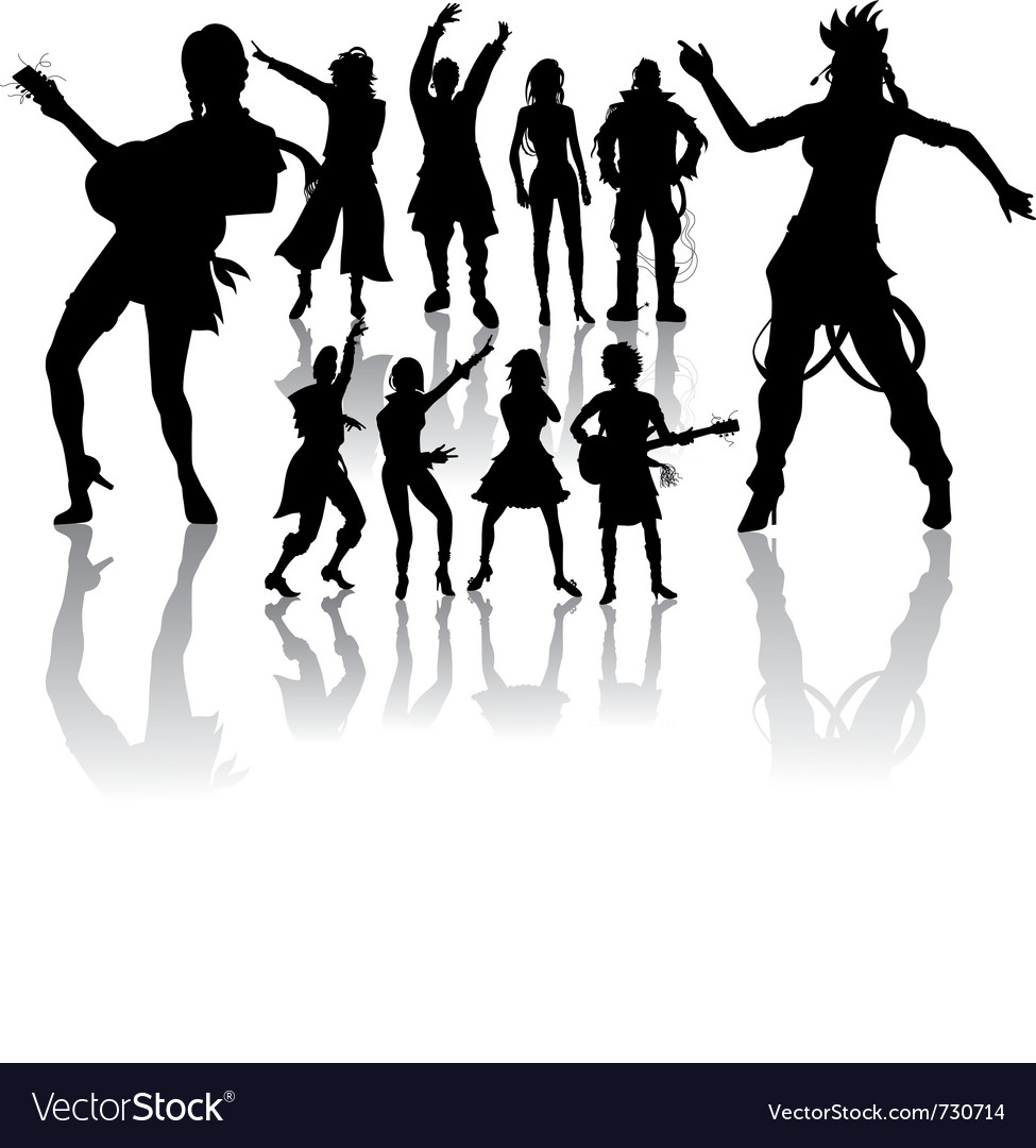 Silhouettes handmade dancing and singing vector | Price: 1 Credit (USD $1)