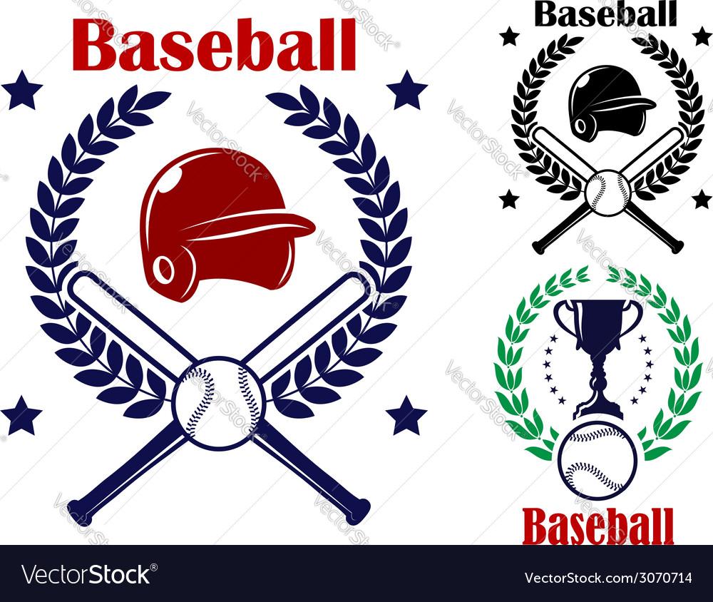 Three baseball emblems or badges vector | Price: 1 Credit (USD $1)