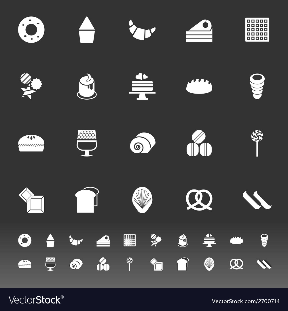 Variety bakery icons on gray background vector | Price: 1 Credit (USD $1)