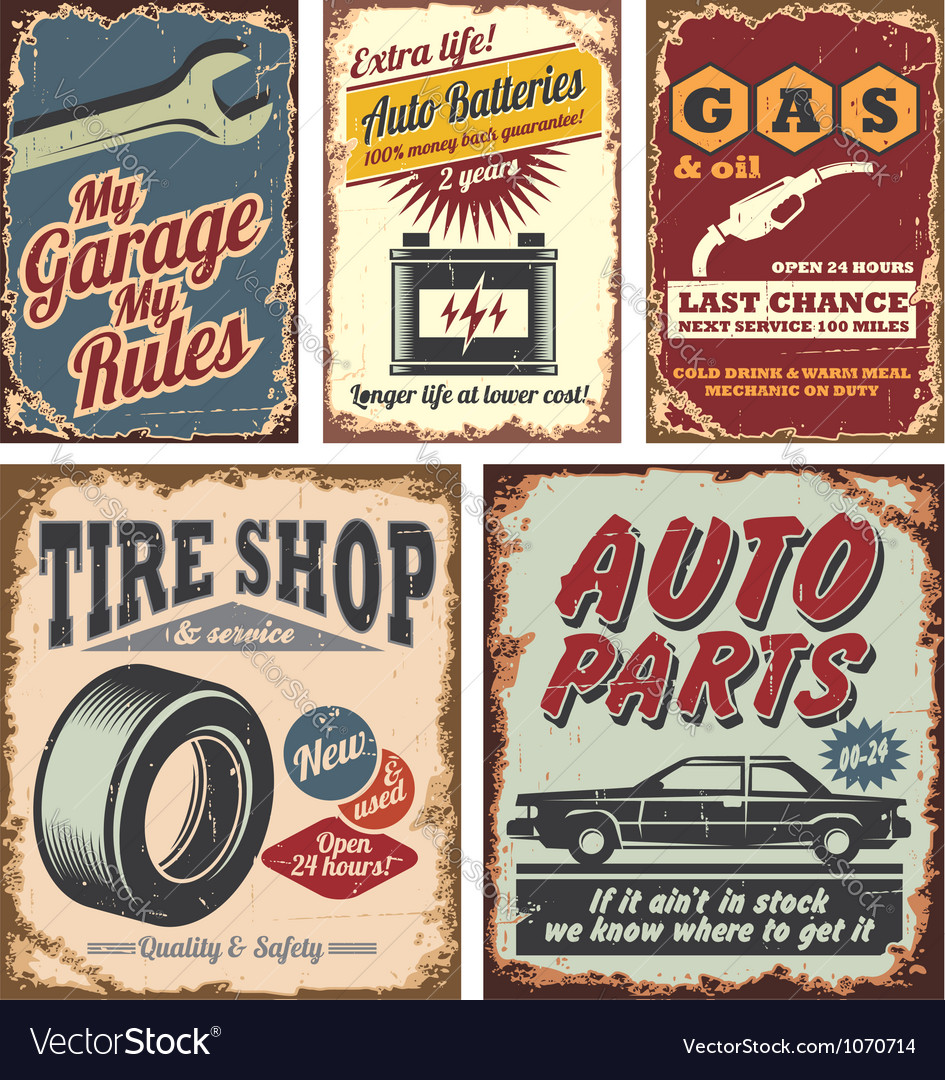 Vintage car signs vector | Price: 1 Credit (USD $1)