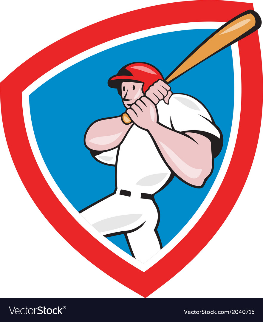 Baseball player batting crest red cartoon vector | Price: 1 Credit (USD $1)