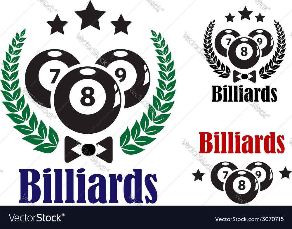 Billiards badges or emblems vector | Price: 1 Credit (USD $1)