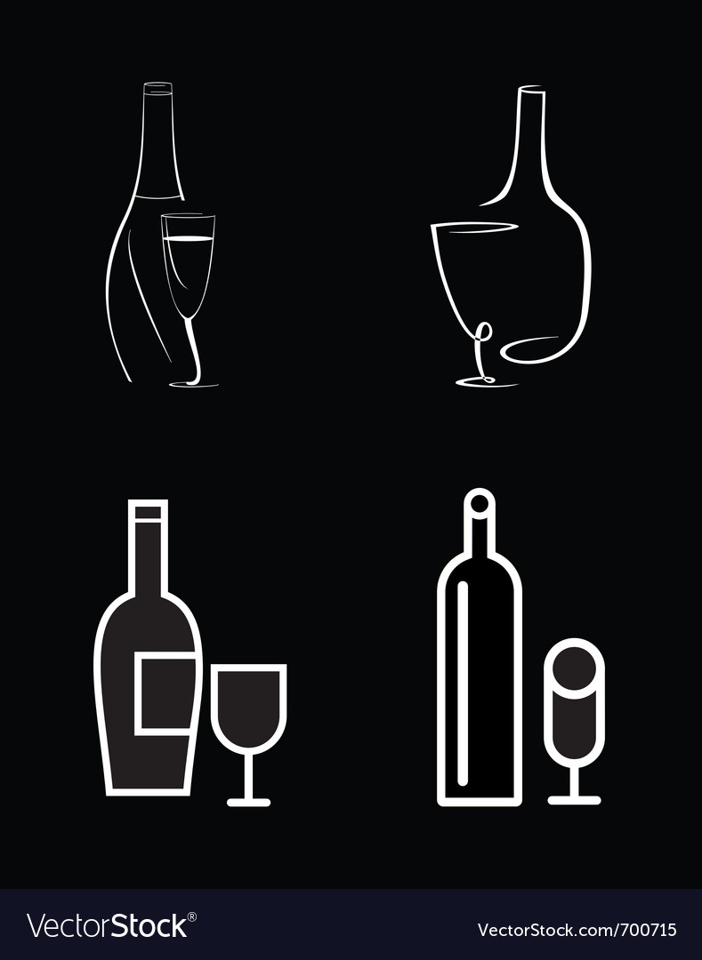 Bottle of wine and wineglasses vector | Price: 1 Credit (USD $1)
