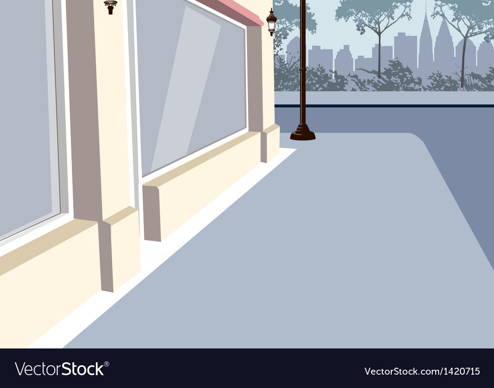 City sidewalk scene vector | Price: 1 Credit (USD $1)