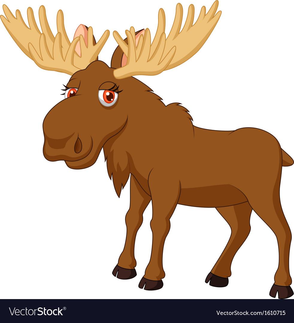 Cute moose cartoon vector | Price: 1 Credit (USD $1)