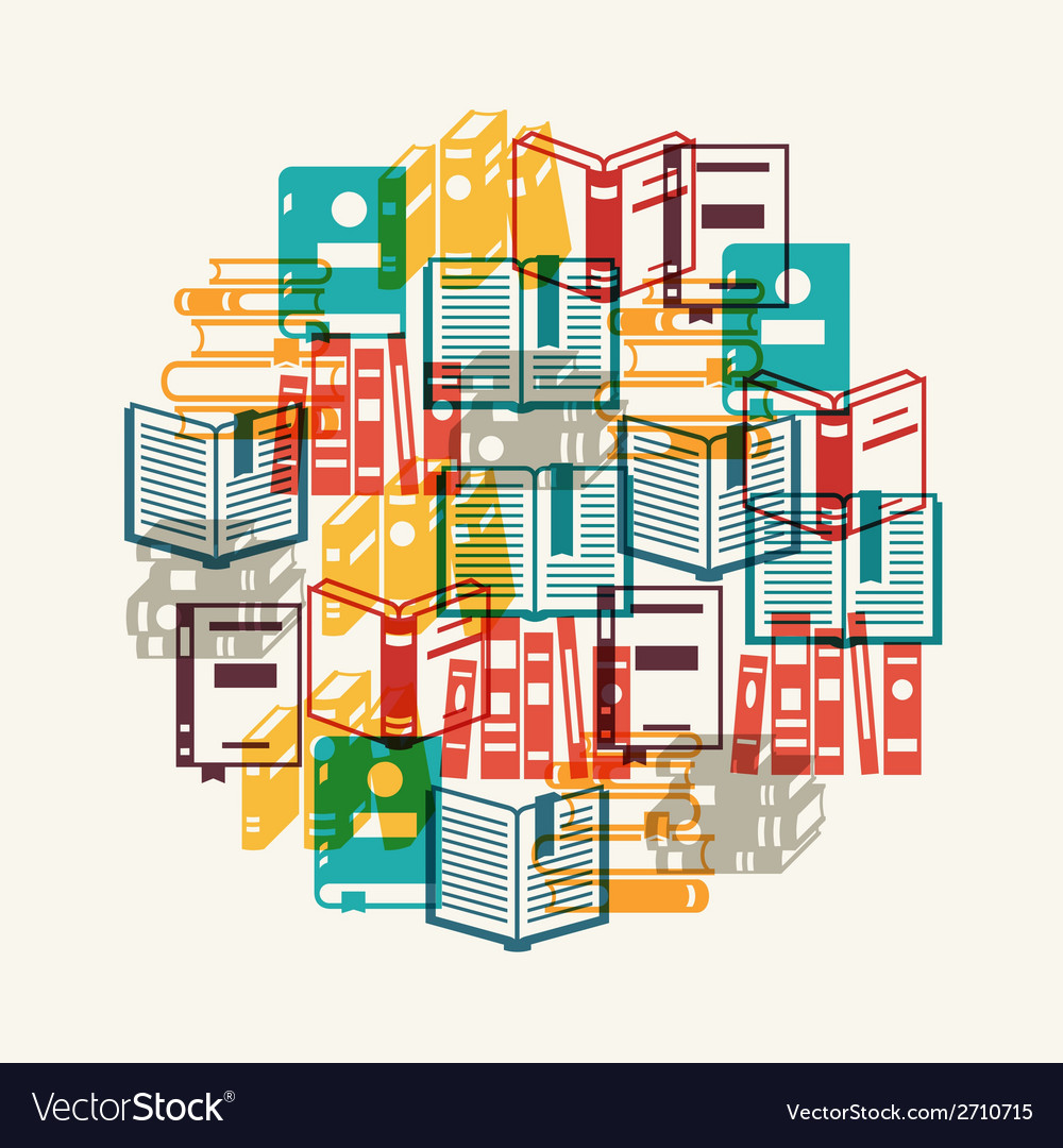 Education background with books in flat design vector | Price: 1 Credit (USD $1)