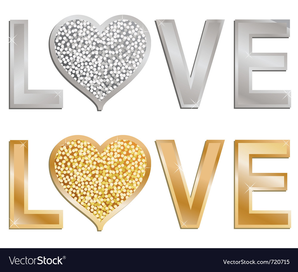 Glitter love valentine vector | Price: 1 Credit (USD $1)
