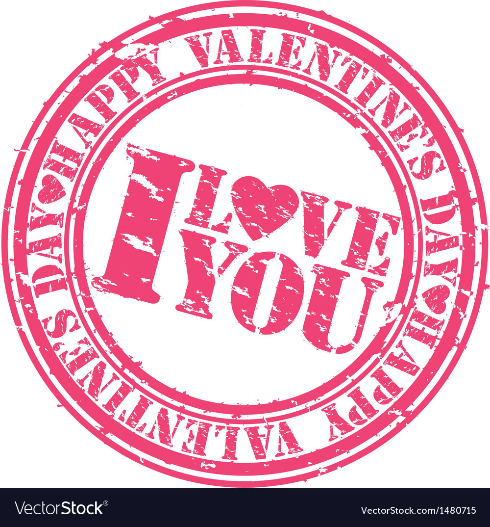 Happy valentine day i love you stamp vector | Price: 1 Credit (USD $1)