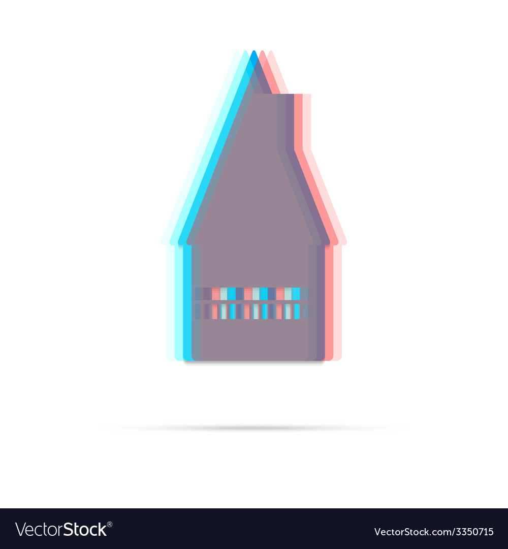Home flat anagliph icon with shadow vector | Price: 1 Credit (USD $1)