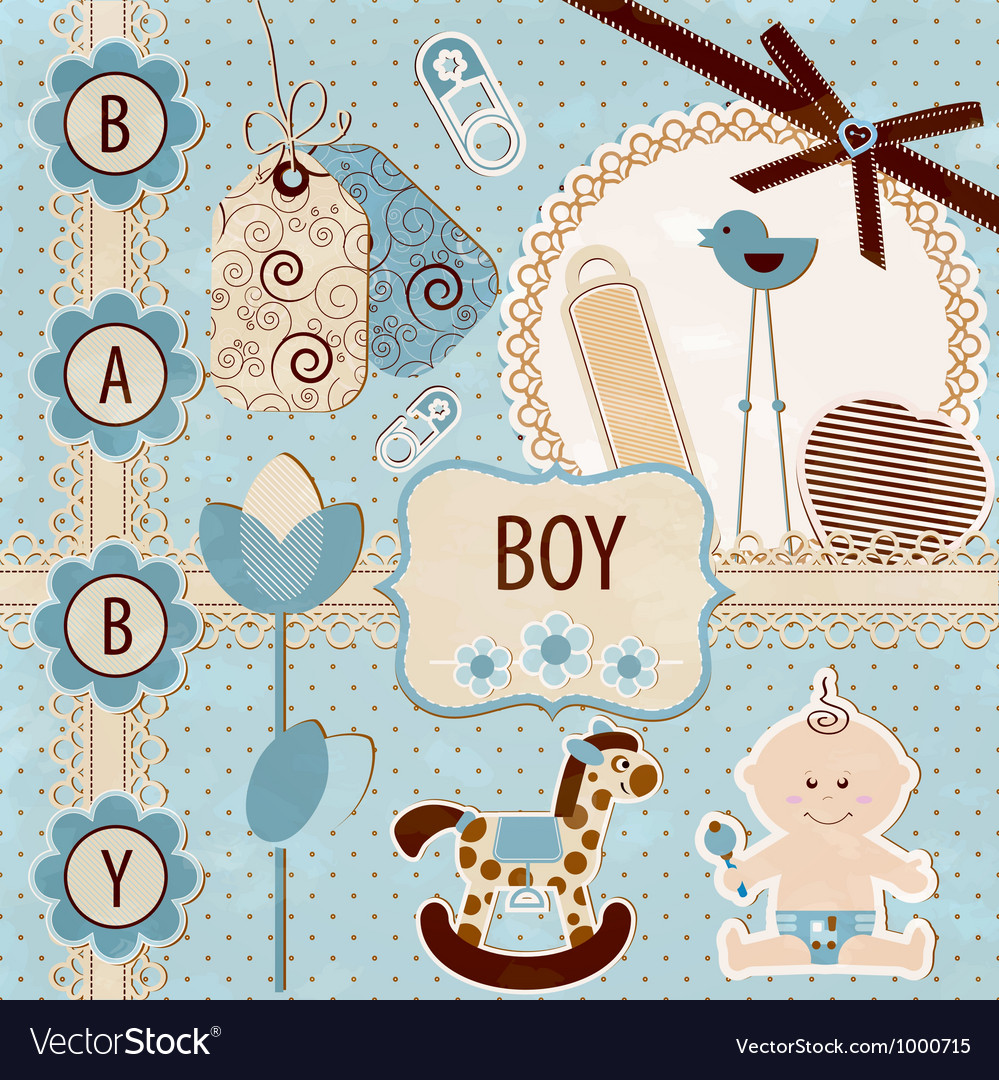 Scrapbook baby boy set vector | Price: 1 Credit (USD $1)