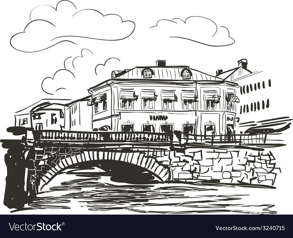 Town riverside sketch vector | Price: 1 Credit (USD $1)