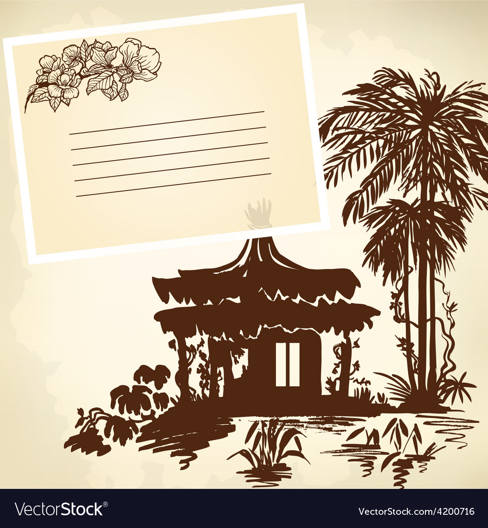 Bungalow and palms vector | Price: 1 Credit (USD $1)