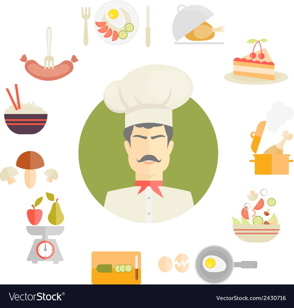 Cooking and food icons in fat style vector | Price: 1 Credit (USD $1)