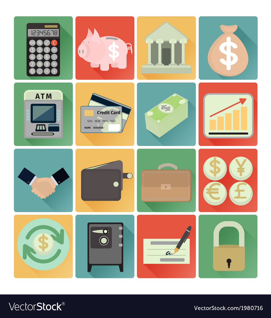 Flat icons finance set vector | Price: 1 Credit (USD $1)