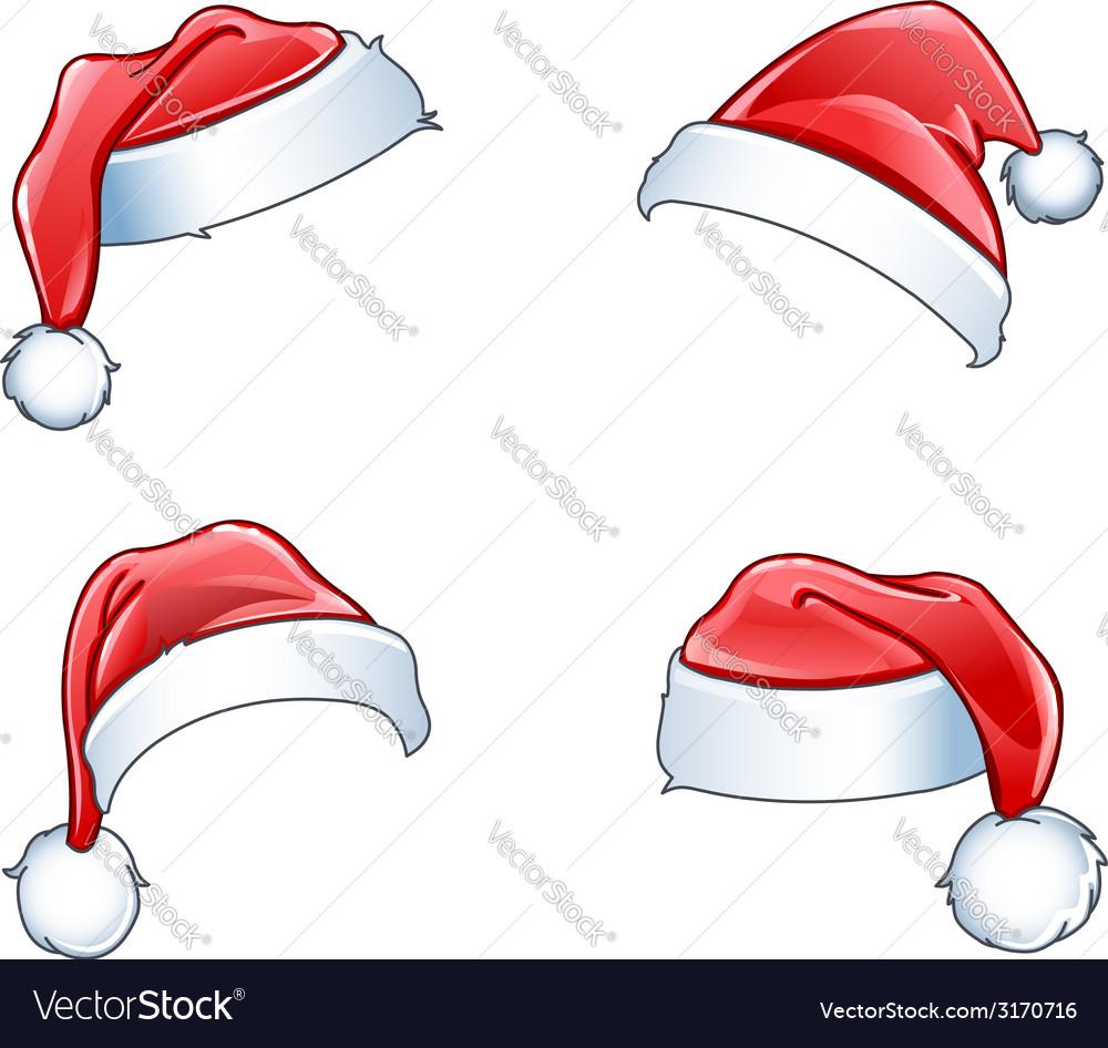 Glossy santa hats vector